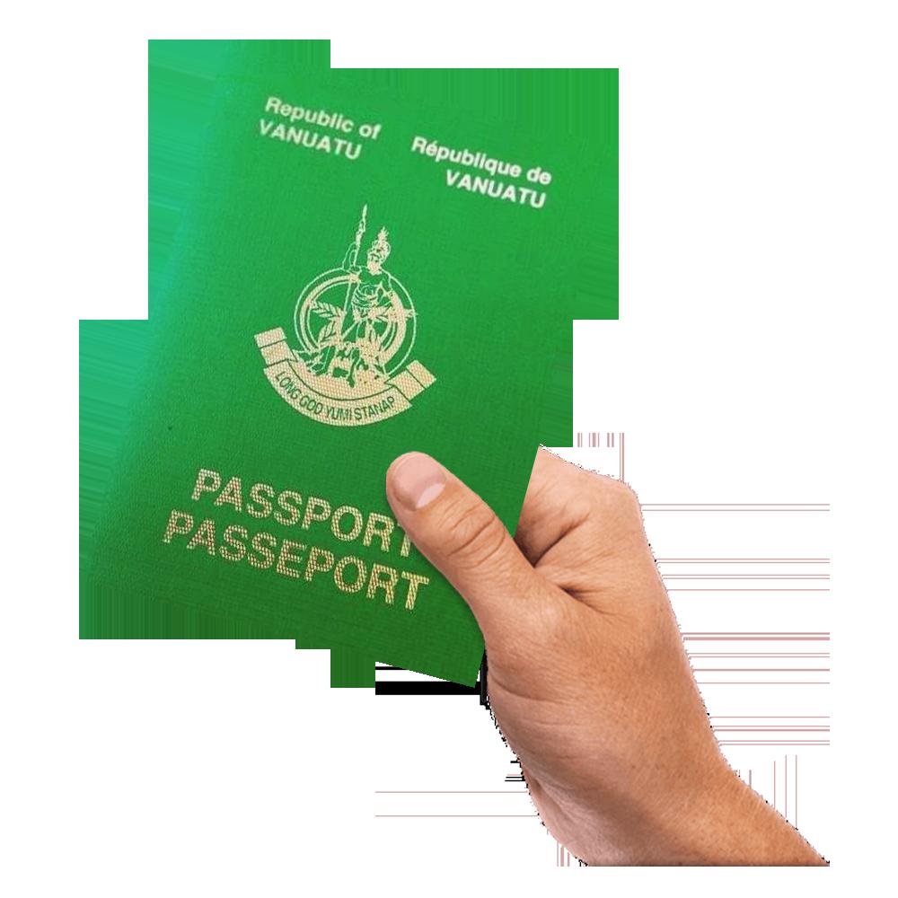 a hand holding Vanuatu Passport